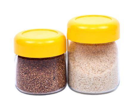 Two kitchen containers on white background