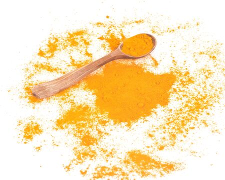 Turmeric powder and wooden spoon on white background Banco de Imagens
