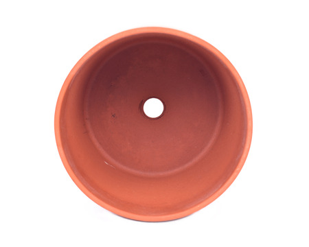 Decorative clay pot separated on white background