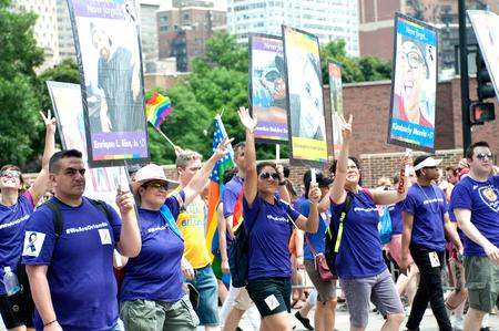 transsexual: Love has no borders, Happy pride, Pride parade, Chicago, IL, USA - June 26, 2016