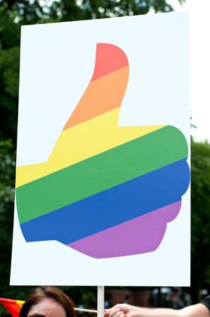 transexual: Love has no borders, Happy pride, Pride parade, Chicago, IL, USA - June 26, 2016
