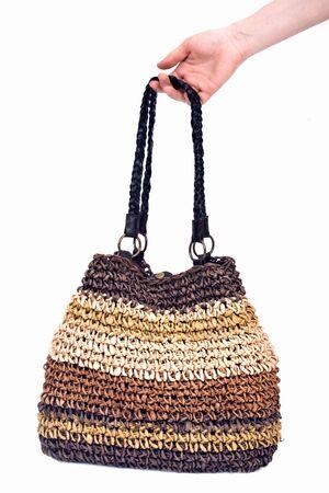 Corn husk straw bag separated on white background Фото со стока