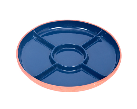 separated: Blue round party ceramic divided serving platter tray separated on white background Stock Photo