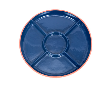 party tray: Blue round party ceramic divided serving platter tray separated on white background Stock Photo