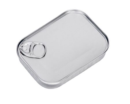 sardines: Closed metal can with sardines separated on white background