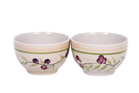 Two painted bowls separated on white background Stock Photo