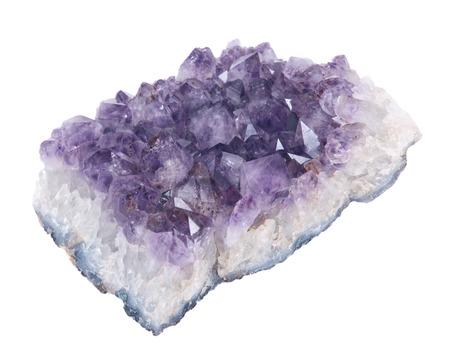 Quartz purple gemstone amethyst separated on white background Фото со стока