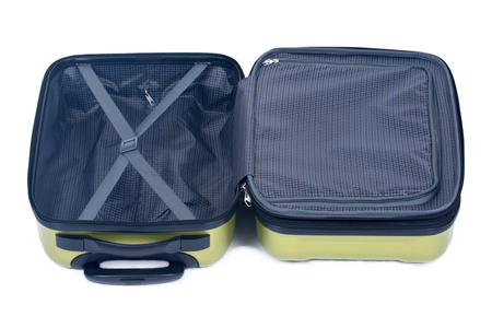 Open green hardshell luggage separated on white background Фото со стока