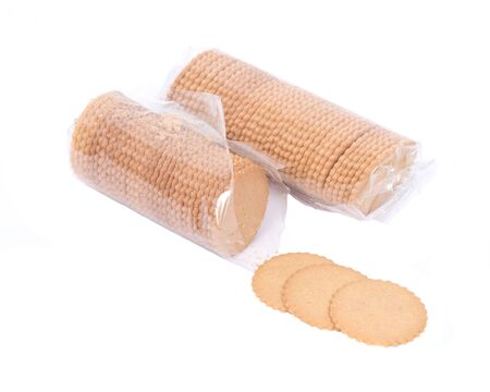 sweet sugar snap: Natural cookie thins in skinny plastic sleeve on white background