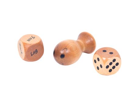 gatillo: masajeador punto gatillo con cubos separados en el fondo blanco Foto de archivo