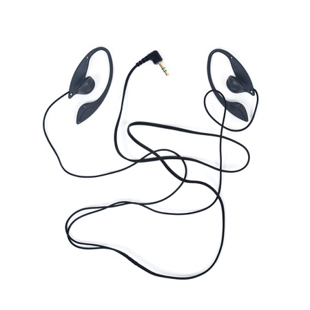 earpiece: Black wired earpieces separated on white background