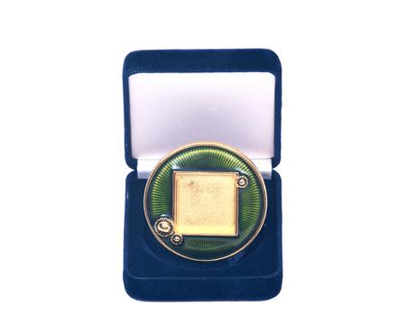 blue velvet: Blue velvet jewelry box wit round picture frame on white background Stock Photo