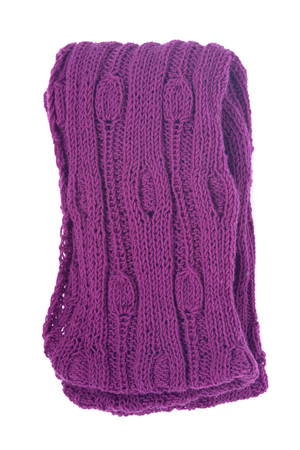 Violet knit wool scarf separated on white background