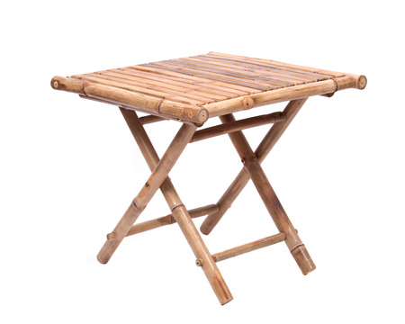 折りたたみテーブル ホワイト バック グラウンドに分離された天然の竹 写真素材