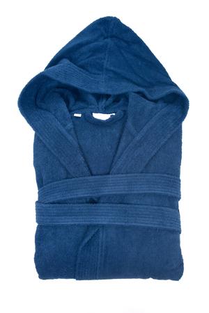 housecoat: Blue cotton velour bathrobe isolated on white background