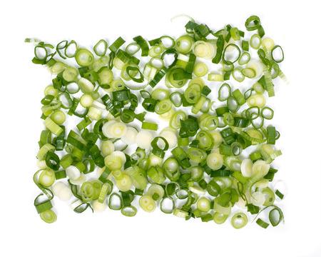 Cebolla orgánica cebollín verde sobre fondo blanco