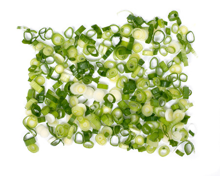 Organic green onion scallion on white background Banque d'images