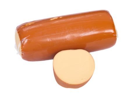 amish: Amish farm organic smoked gouda cheese isolated on white background