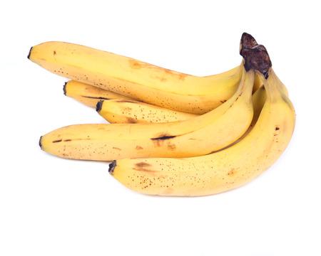 Ripe organic bananas isolated on white background