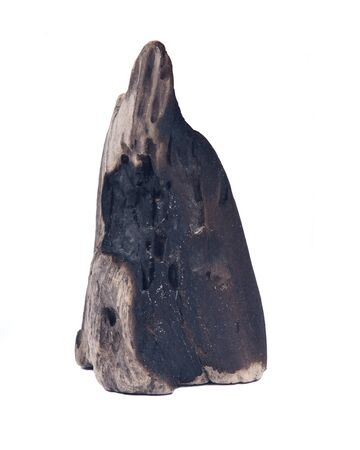 Partly burned charred piece of wood from beach isolated on white background
