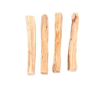 Palo santo smudging sticks isolated on white background