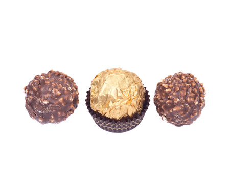 lecithin: Italian chocolate balls isolated on white background