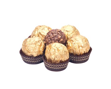 Italian chocolate balls isolated on white background