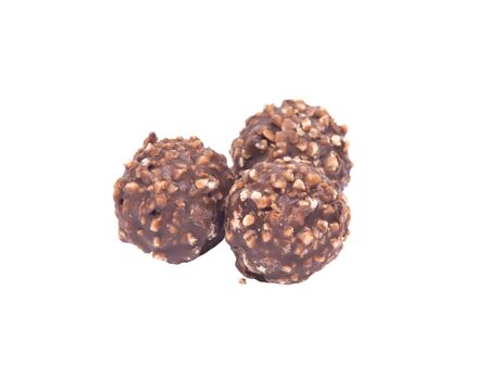 lecithin: Luxury round chocolate pralines isolated on white background