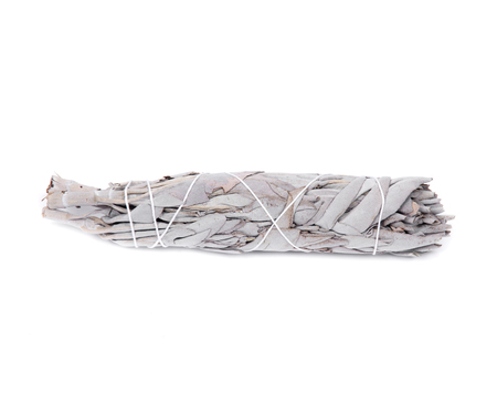 smudge: Sage smudge stick isolated on white background Stock Photo