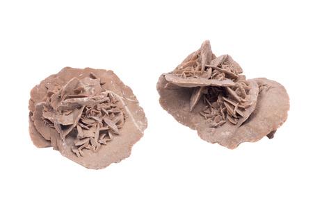 Gypsum desert sand rose isolated on white background Stock Photo