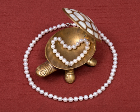 freshwater pearl: Decorative turtle jewelry box and freshwater white pearl necklace on red fabric backboard