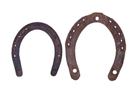 Old rusty vintage good luck horseshoe isolated on white background Stock fotó