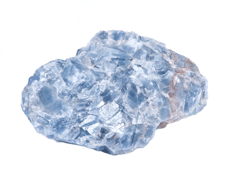Raw blue white kyanite natural chunk isolated on white background 免版税图像