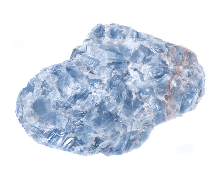 Raw blue white kyanite natural chunk isolated on white background Stock Photo