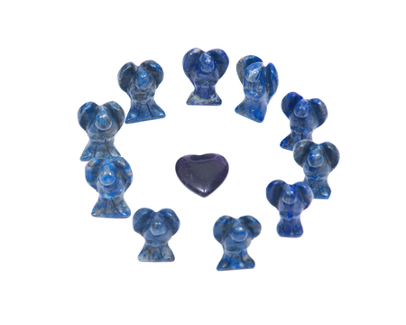 Amethyst heart surrounded by lapis lazuli angels isolated on white background