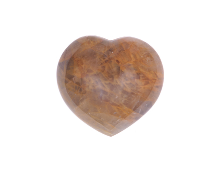 healer: Golden healer quartz heart isolated on white background