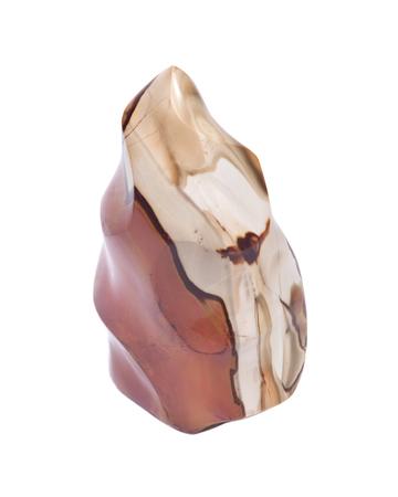chakra energy: Jasper multicolor polished stone carving isolated on white background