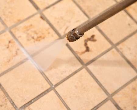 Marble floor and ground powerful pressure washing cleaning Imagens
