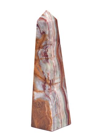 Polished multicolor carved onyx obelisk isolated on white background