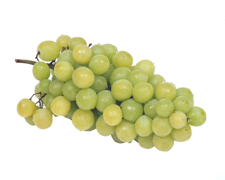 Ripe organic green grapes isolated on white background Stock Photo