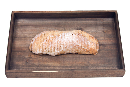 Gesneden Crusty Ciabatta Organisch Italiaans Brood Op Houten Uitblik