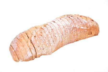 Sliced crusty ciabatta organic italian bread isolated on white background