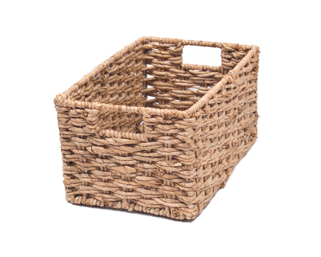 Stock Photo   Vintage Seagrass Storage Basket Isolated On White Background