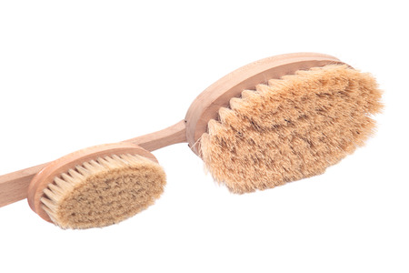 Natural tampico fiber body and face brushes isolated on white background Stock Photo