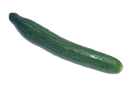 cucumis sativus: Long fresh english cucumber from greenhouse isolated on white background Stock Photo