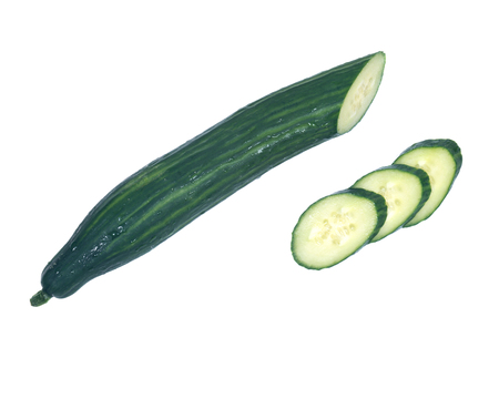 Long fresh english cucumber from greenhouse isolated on white background Stock Photo