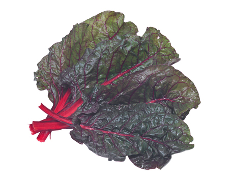 Red organic swiss chard isolated on white background