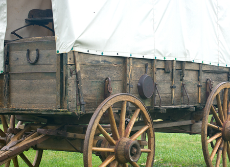 Covered vintage pioneer wagon wild west style