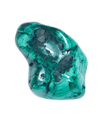 Polished green malachite stone, close up isolated on white background