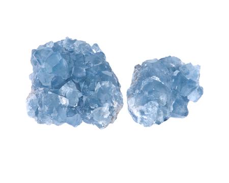 Blue celestite cluster isolated on white background